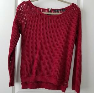Red Sweater with Gold Zipper - S